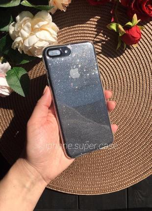 Нереально крутой прозрачный в блёстках чехол на айфон iphone 7 plus 8 plus