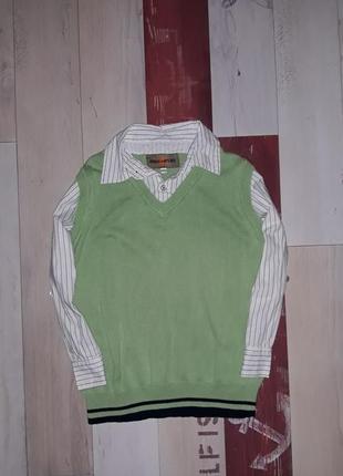 Стильная рубашка-кофта обманка urban на 5-7 лет