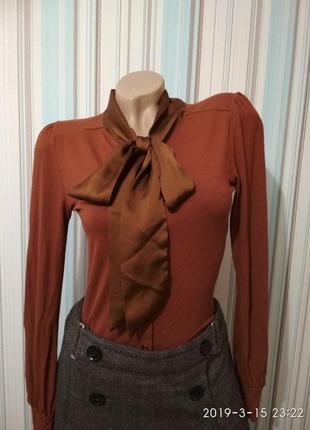 Блуза рубашка батник с атласным бантом терракотовая hallhuber