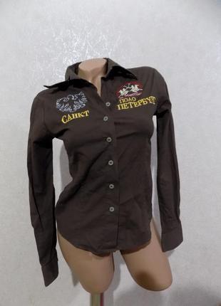 Рубашка коричневая с вышивкой фирменная италия размер 42