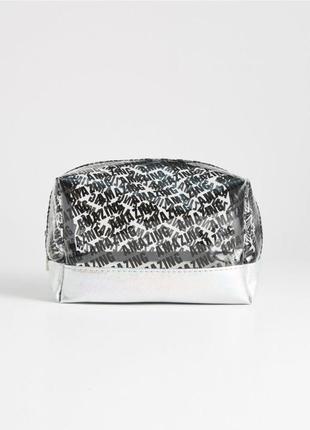 Новая прозрачная серебристая косметичка sinsay amazing принт надпись потрясающая