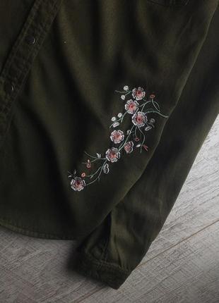 Сорочка в стилі мілітарі, в квіти 🌿7