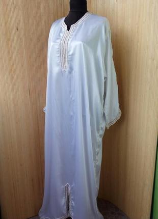 Атласное белое платье рубаха / абая / галабея / джаллаба1 фото