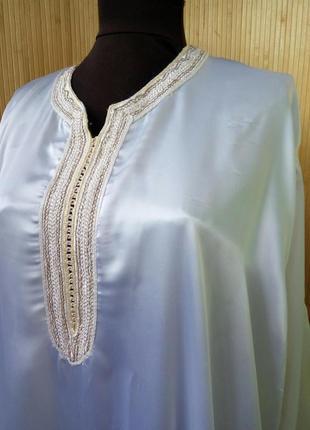 Атласное белое платье рубаха / абая / галабея / джаллаба3 фото