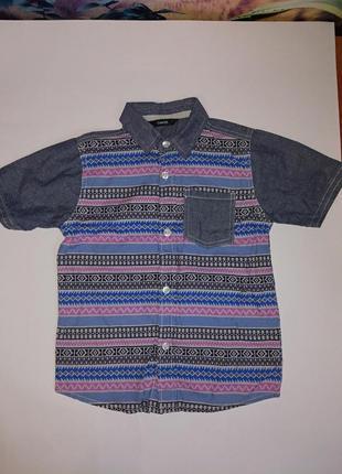 Стильная рубашка на мальчика 104-110 см,состояние новой вещи
