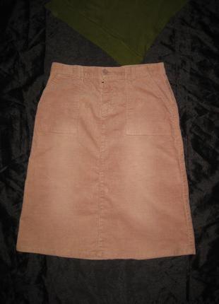 10-12 р-р, вельветовая стрейчевая юбка розово-пудрового цвета