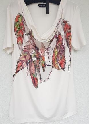 Футболка блузка стразы принт перья бусы цепи от samoon