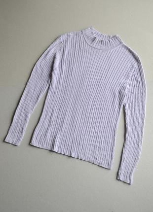 Шёлковый свитер гольф в мелких косах р.m-l  100%шёлк