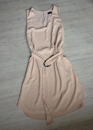 Стильное свободное платье с поясом,миди, m/l