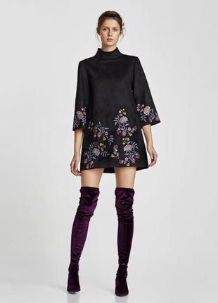 Замшевое платье с вышивкой zara