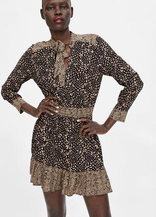 Платье  zara с леопардовым принтом р.m