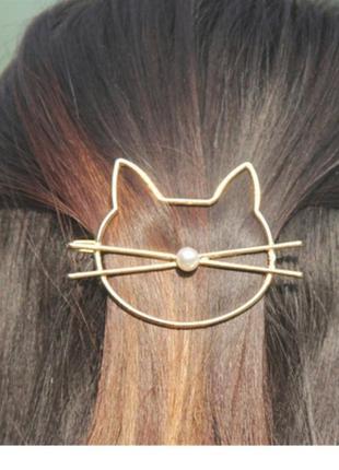 Крутая заколка кот котик заколочка для волос