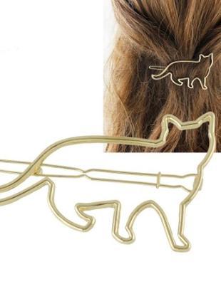 Крутая милая заколка для волос кот котик заколочка золотистый