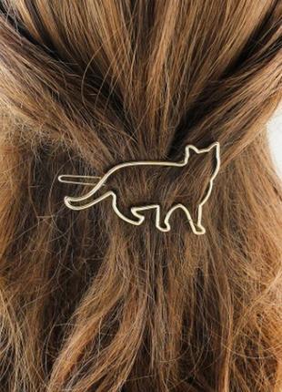 Крутая милая заколка для волос кот котик заколочка золотистый3 фото