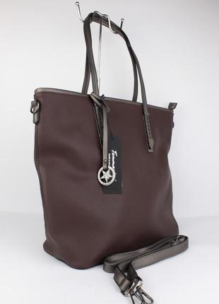 Большая мягкая женская сумка tommasini 332 темно-коричневая, италия