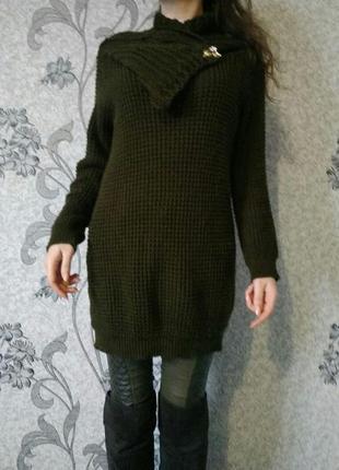 Крфта платье цвета хаки,крупной вязки