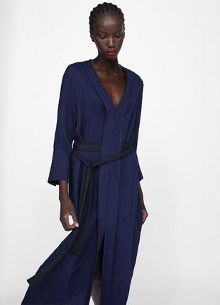 Платье zara миди синее с черным поясом xs , xl