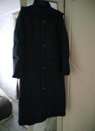 Демисезонное длинное пуховое пальто