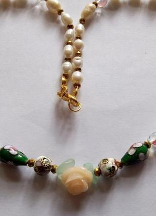 Ожерелье , натуральный жемчуг, нефрит, клуазоне,синтетический коралл , длина 46 см