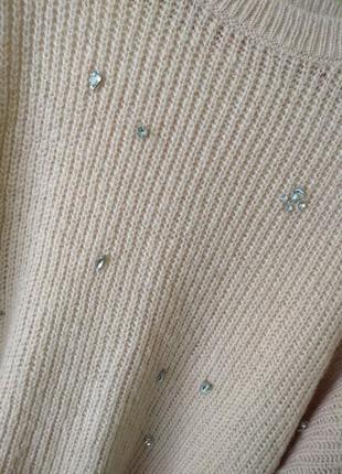 Пудровый свитер в камнях от primark2