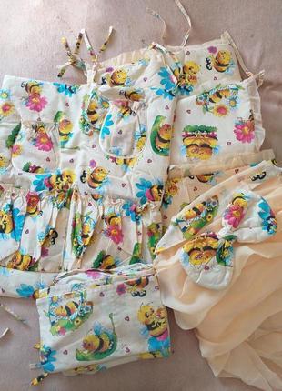 Набор комплект постельного белья в кроватку, бортики, балдахин