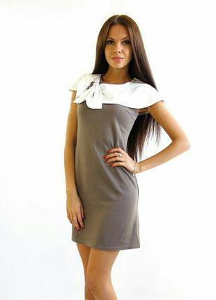 Женское трикотажное платье бант р.44