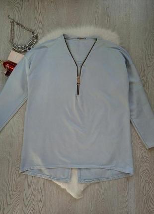 Голубой теплый джемпер свитшот с вырезом на груди и молнией кофта батал большой размер