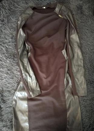Платье коричневое со вставкой екокожи