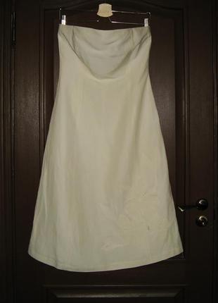 Льняное платье-бюстье с аппликацией, испанского бренда zara, материал лен+шелк, р. l