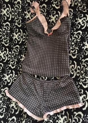 Пижама с рюшками в горошек