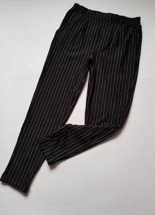Штаны в полоску,хлопковые черные брюки в полоску,брюки вискоза
