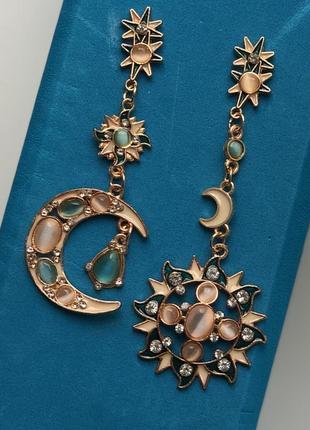 Красивые серьги солнце и луна3