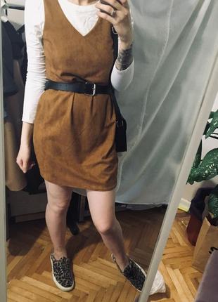 Платье под замш коричневое рыжее