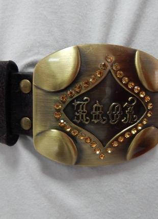 Ремень темно-коричневый с заклепками