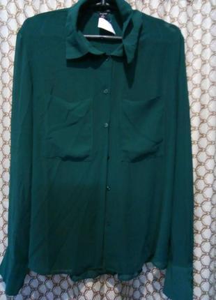 Шифоновая блуза цвет бутылка 12рр.