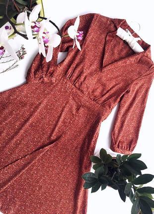 Женская рижо-коричневая платье бренд h&m