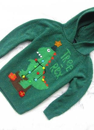 Стильная теплая кофта реглан свитер   с капюшоном и гребнем next  tree rex