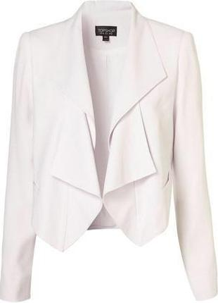 Пиджак белый водопад укороченный короткий стильный качественный 36 с