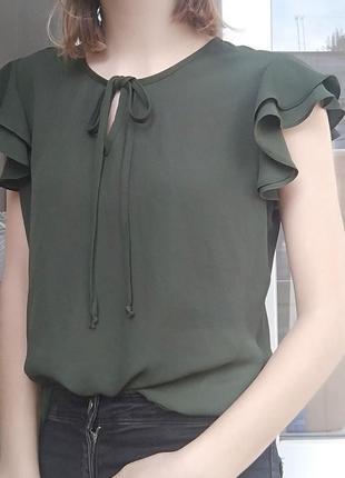 Хаки валан блуза футболка шифон зеленая креп шифон