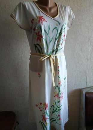 Ретро платье белое с цветами