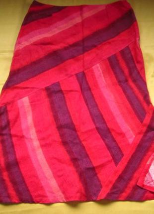 Яркая льняная юбка promod в идеальном состоянии