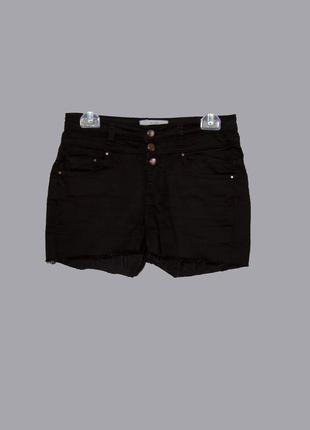 Обрезные черные джинсовые короткие шорты, стрейчь
