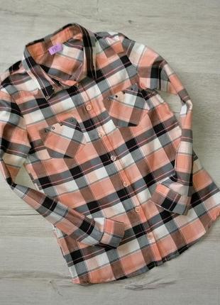 Бежевая рубашка в полоску для девочки