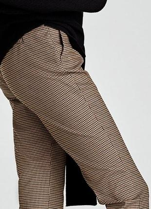 Трендовые зауженные брюки-сигареты(штаны) в клетку,гусиную лапку,укорочённые zara woman