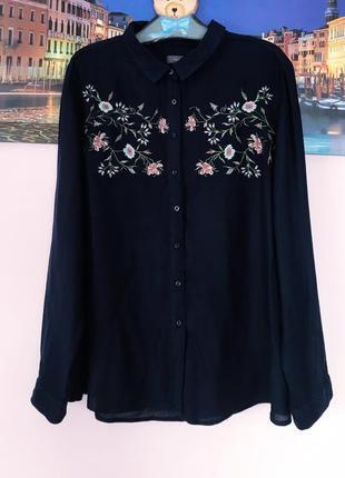 Натуральная рубашка с вышивкой