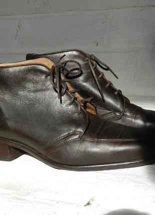 Маст хев! брендовые винтажные ботинки шоколадного цвета 100% нат кожа!