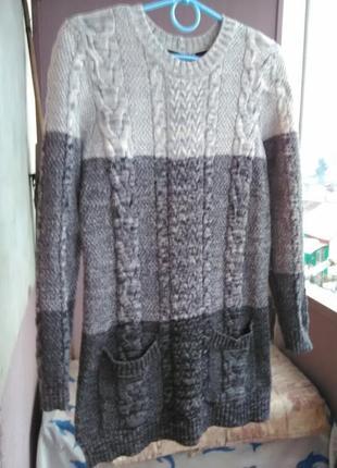 Обалденный удлинённый свитерок с карманами