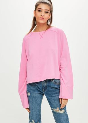 Яркий розовый свитшот, толстовка, кофта оверсайз с широкими рукавами missguided, p.m(38)