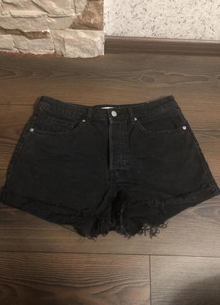 Чёрные джинсовые мом шорты h&m