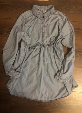 Джинсовая рубашка платье для беременных